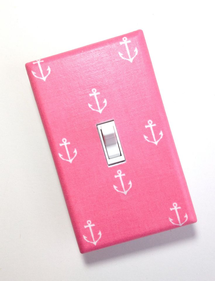 Anchor Nursery Decor Light Switch Plate Cover / Nautical Kids Room / Baby Girl / Bathroom / Out to Sea Blossom by Michael Miller. $10.00, via Etsy.