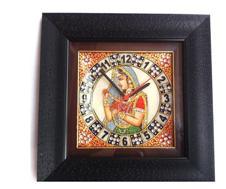 Marble Wall Clock is made with high grade marble, these marble Wall Clock set make an impressive gift or exquisite decorative accessory for the home.This marble Wall Clock is adorned with the design of hand-painted Kishangarh Bani-Thani. - See more at: http://potofgoodies.com/marble-wall-clock-9-x-9-inch