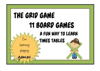 TIMES TABLES - THE GRID GAME - 11 Board Games for Learning tables to 12 x 12