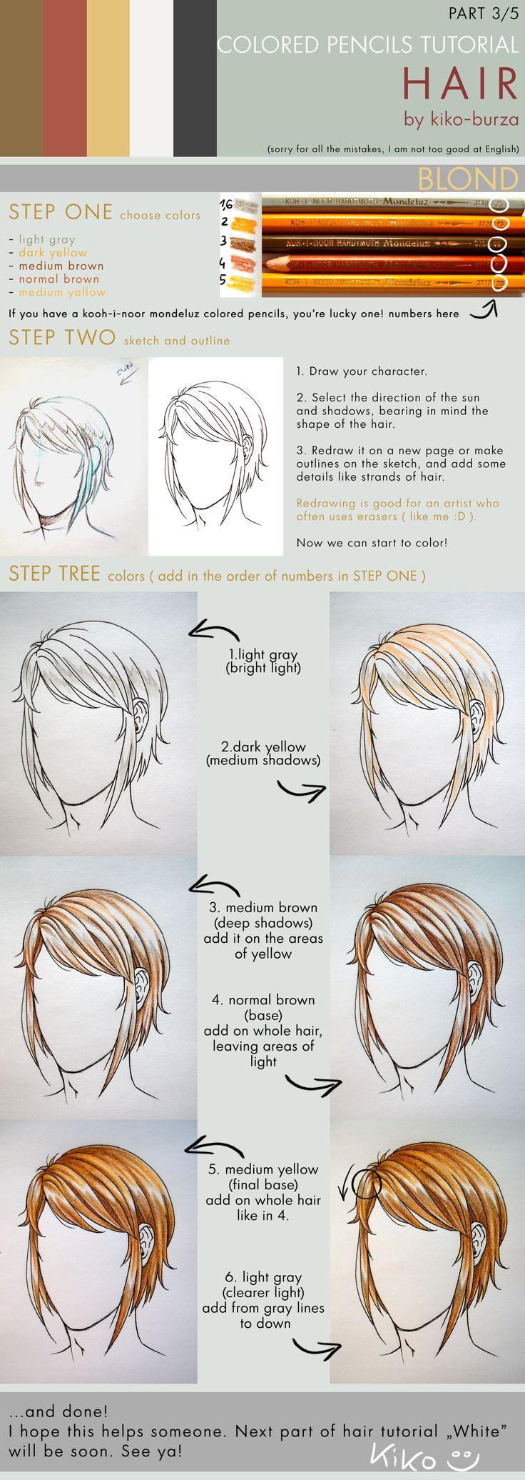 Colored pencils tutorial HAIR part 3 - BLOND by kiko-burza.deviantart.com on @DeviantArt