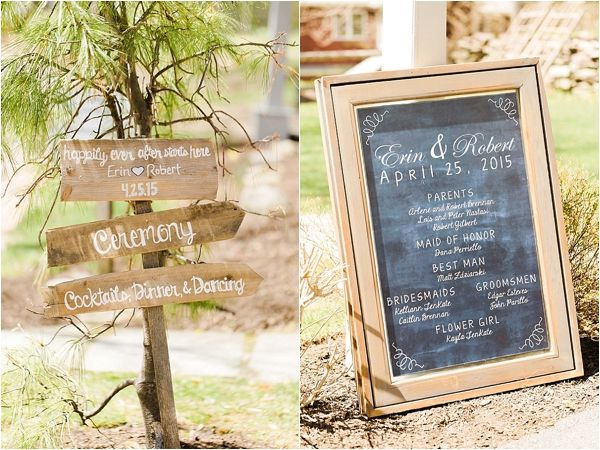 Rustic wedding signs and decor | Photo by Christy Nicole Photography | Rustic Inn New Jersey Wedding on heartlovealways.com