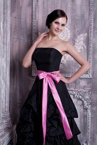 Black dress pink sash
