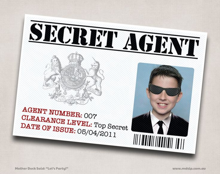 6 Secret Agent / Spy ID Printable Personalized Customized Good name tags for VBS