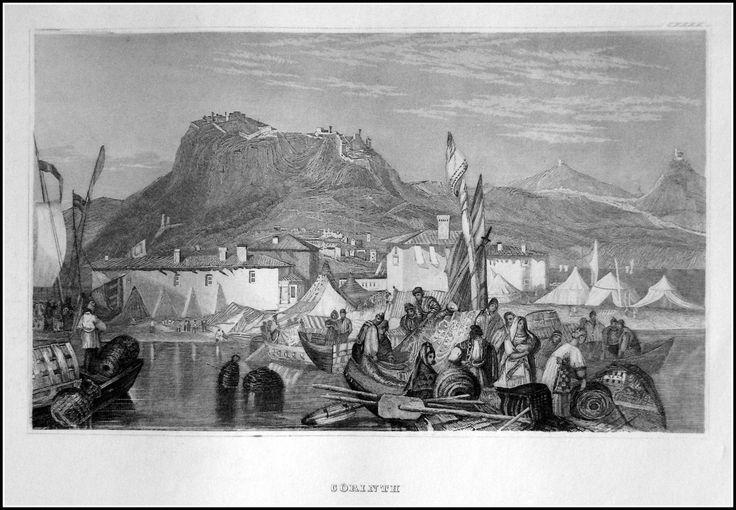 Greece -Corinth. Graphic         : Steel engraving From             : Pittoreskt Universum eller Taflor Year              :  1838 Size               : 17 x 12 cm Distr.             : Bibliografiska Institutets Stockholm
