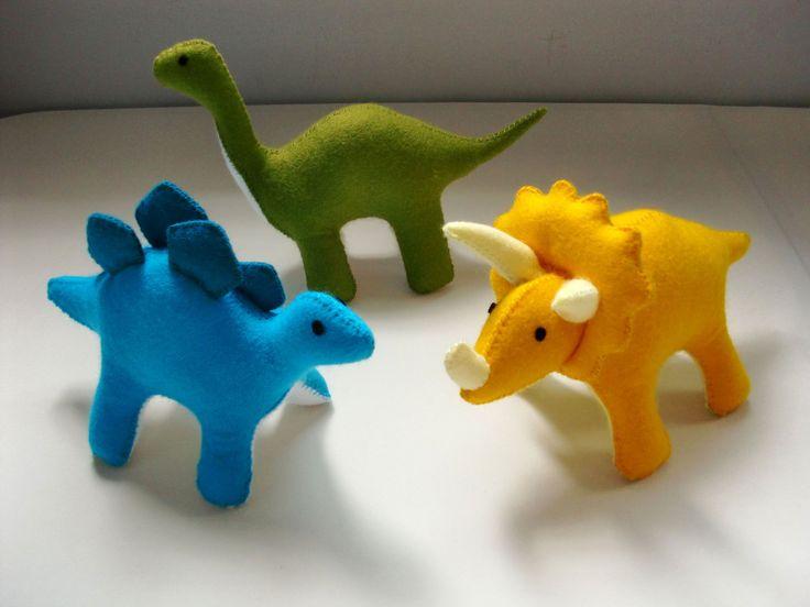 Felt Dinosaur Pattern Set - Stegosaurus, Triceratops, Brontosaurus, Volcano, Fern (Patterns and Tutorial via Email) - Thumbnail 1
