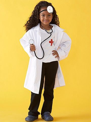 Even though going to the doctor might not be high on the list of fun kid activities, playing a doctor is always a hit. Make your child look like an official M.D. by decorating a plain white T-shirt and a small canvas bag (not shown) with a cross made with red electrical tape. Fill the bag with first aid supplies such as bandages, gauze, and cotton balls -- or use the bag as a spot for treats. Attach a small mirror to a headband and have your child wear a toy stethoscope to complete the…
