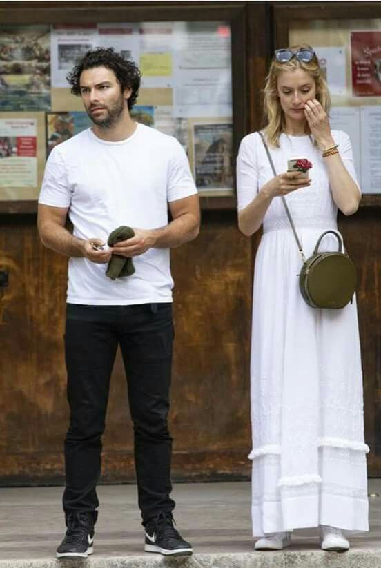 Aidan Turner and Caitlin Fitzgerald, 2018.