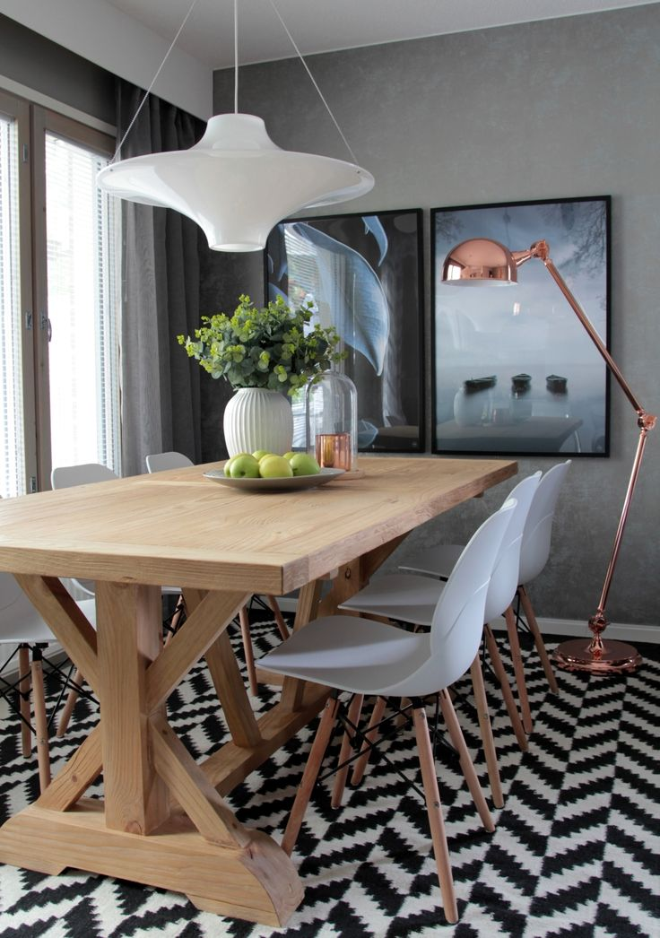 Tähkä villamatto, väri musta-valkoinen, Malaga ruokapöytä, Rana tuolit, Lokki valaisin ja Simon lattiavalaisin