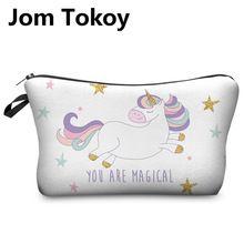 Jom Tokoy 3D Impresión Unicornio Pouchs Cosméticos Bolsas de Maquillaje Multicolor Patrón Lindo Para Damas De Viaje Bolsa de Las Mujeres Bolsa de Cosméticos(China (Mainland))
