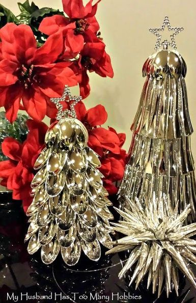 Silvery, shiny and beautiful Christmas spoon trees.