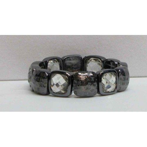 Bracelet élastique anthracite avec cristaux fumés.