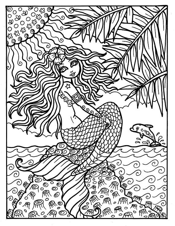 Pin On Mermaid Coloring Pages For Adults