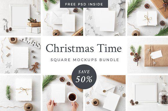 50% OFF Christmas Mockups Bundle by Lena Zakharova on @creativemarket