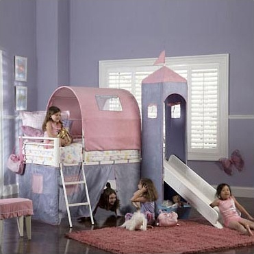 powell princess castle twin tent bunk bed with slide fit for a princess the princess castle tent bunk bed with slide includes a tent over twin bed and a