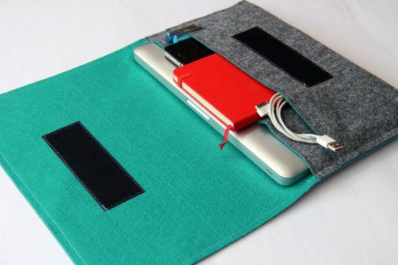 "13"" inch Apple Macbook Pro laptop Organizer Case Cover - Gray & Aquamarine - Weird.Old.Snail"