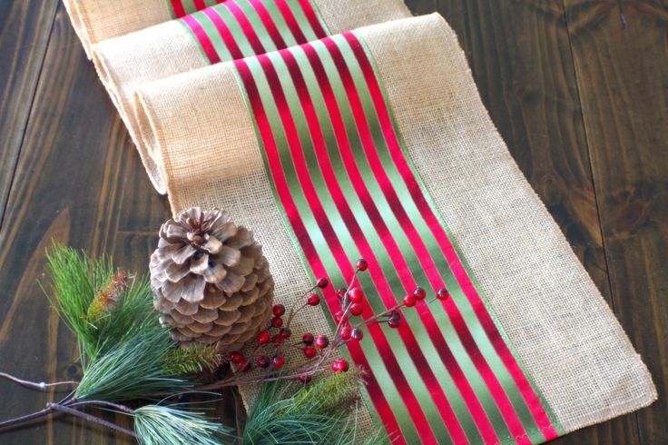 Christmas Table Runner  Winter Decor Burlap Table Runner - Country Holliday Table Decoration hand made in the USA by HotCocoaDesign on Etsy