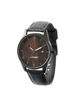 The Boho-inspired model GABRIELE is a unisex watch and due to the plain design, it is a suitable accessory for every occasion. The stainless steel case has got a dial made of real wood and a display of the date. The smooth leather strap makes it particularly supple. Thanks to the dark design, this model is particularly on trend.