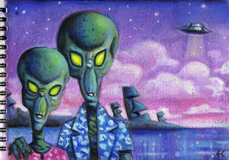 Honeymooners on Easter Island by Eddy Crosby (Gouache on paper) www.eddycrosby.com