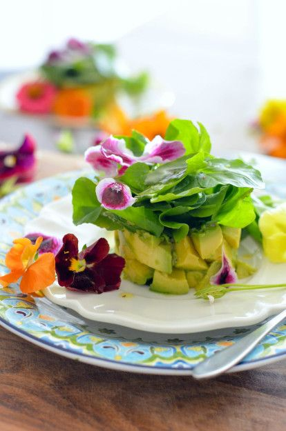 Avocado and Watercress Salad with Edible Flowers