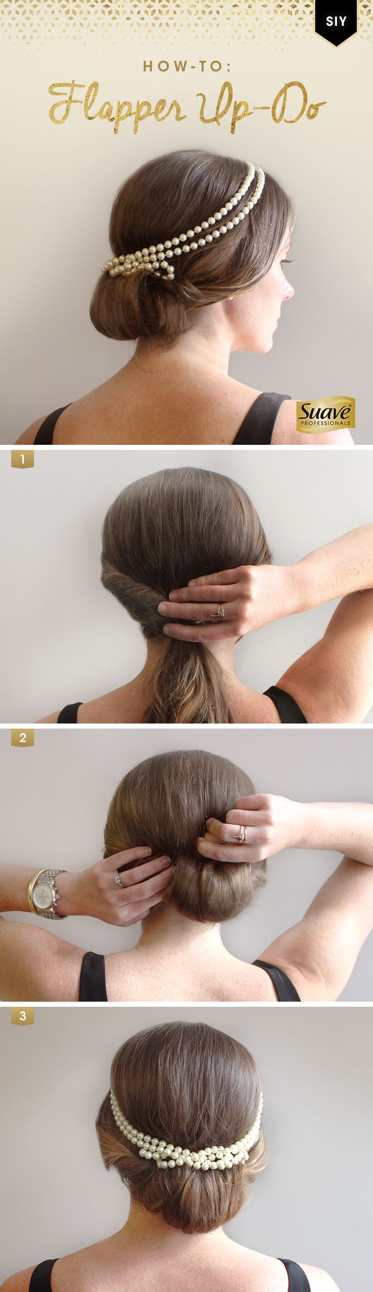 Style It Yourself with an easy, classic up-do for a summer wedding. Start with Suave Professionals Sea Mineral Infusion Moisturizing Buoyant Body Shampoo and Conditioner for body and bounce. Step 1: Twist the hair inward on each side and gather into a ponytail. Step 2: Divide it into manageable sections, looping each one around 2 fingers. Tuck the looped sections back inside the hair tie and secure with bobby pins. Step 3: Drape the pearl necklace on the head and use pins to keep it in…
