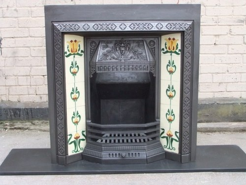 98  VICTORIAN EDWARDAIN FIRE SURROUND FIREPLACE CAST IRON TILED INSERT 38 SQUARE