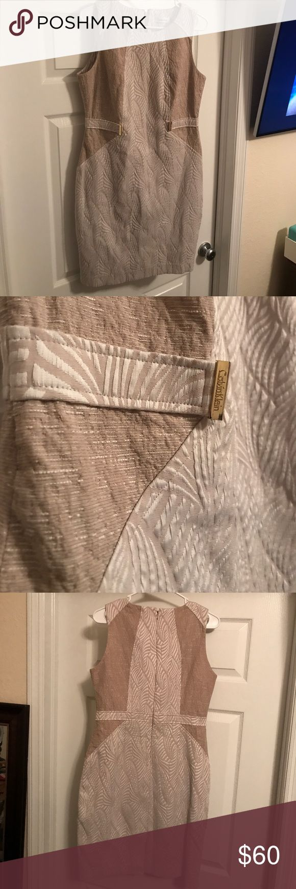 Calvin Klein nude patterned dress Brand new!!  Beautiful nude Calvin Klein dress. Gold belted detail. Gift from my mom, not exactly my style. Has original tags. Calvin Klein Dresses Midi