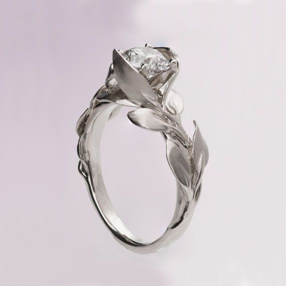 Leaves Engagement Ring No. 7 14K White Gold and by doronmerav
