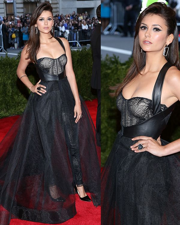 Nina Dobrev arrives at the PUNK: Chaos to Couture Costume Institute Gala at The Metropolitan Museum of Art on May 6, 2013