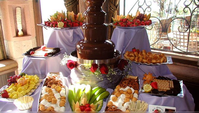 chocolate fountain buffet for youth promo Sunday - Make it fun for youth with color table, ridge potato chips, smores, twinkies, pretzel sticks, oreos ETC @Weslee Reeves Schroeder