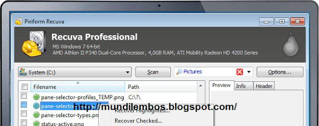 Free Download Recuva Data Recovery Portable Professional Full Version merupakan aplikasi yang berfungsi untuk mengembalikan file yang tiba-tiba hilang atau memang anda hapus serta dapat mengembalikan file-file harddisk yang anda telah format berulangkali selama harddisk anda masih berfungsi normal