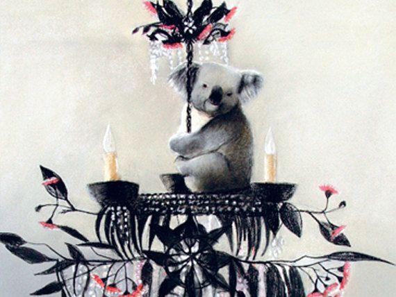blank card  koala  chandelier  pink eucalyptus by KatkasArtStudio
