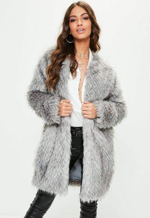 Missguided Gray Premium Faux Fur Coat