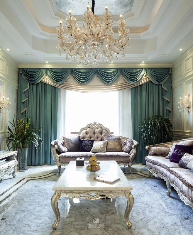 living room window valance ideas%0A Formal Living Room Drapery Panels and Swags