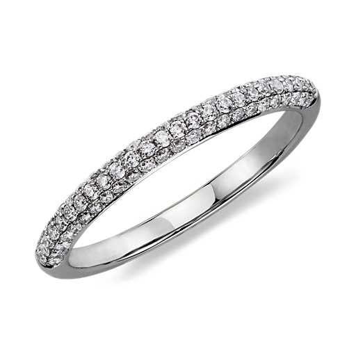 Trio Micropavé Diamond Wedding Ring in 14K White Gold (1/3 ct. tw.)