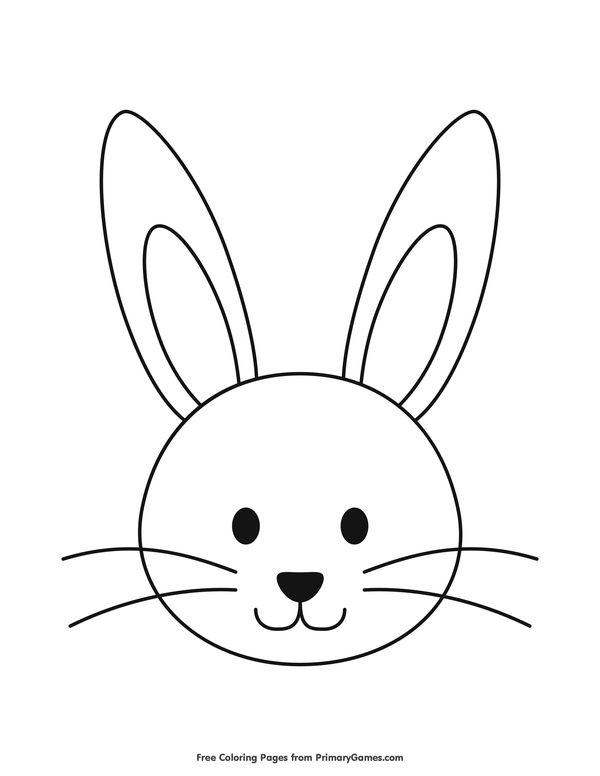 Simple Bunny Head Outline Coloring Page • FREE Printable