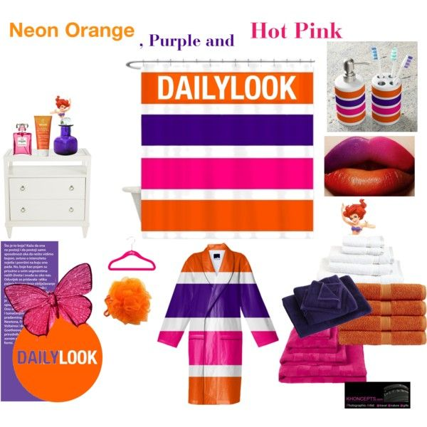 """""""Daily Look - Vibrant, Orange, purple and hot pink bath accessories"""" by Khoncepts"""