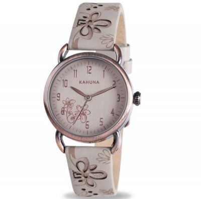 Kahuna - Ladies\' Mink Floral Pattern Cut Leather Strap Watch - KLS-0254 - RRP: £35.00 - Online Price: £29.75