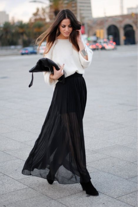 Wear Black maxi skirt for a chic look
