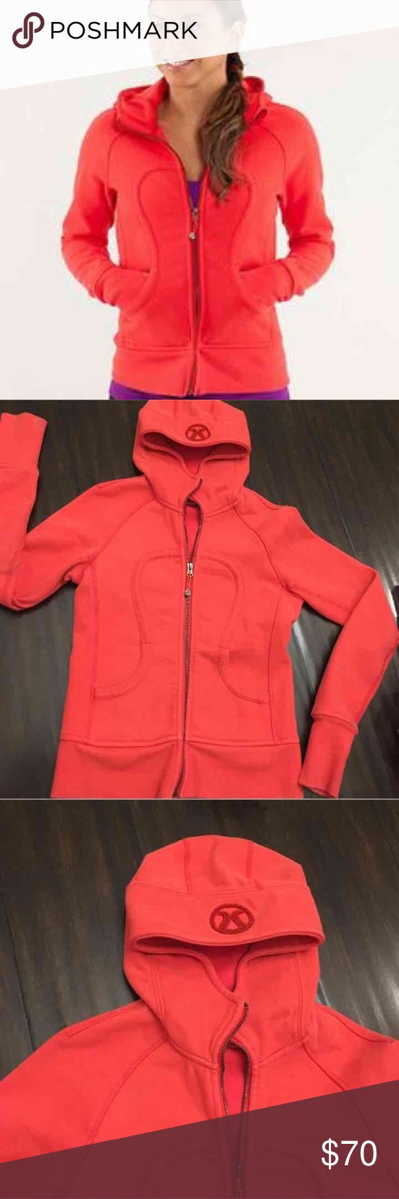 Lululemon scuba hoodie II This is a red lululemon scuba hoodie size 4! Has never been worn. It is in great condition reason for selling is it a little too small for me. lululemon athletica Tops Sweatshirts & Hoodies