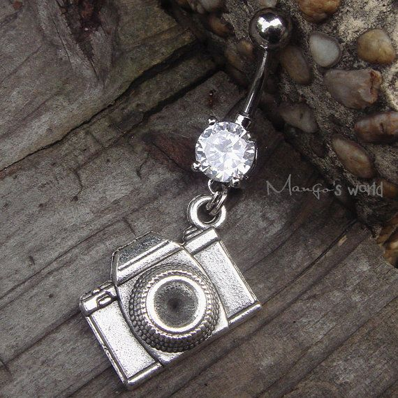 Camera Belly Button Jewelry Ring Crystal Belly Ring by mangosworld, $10.98