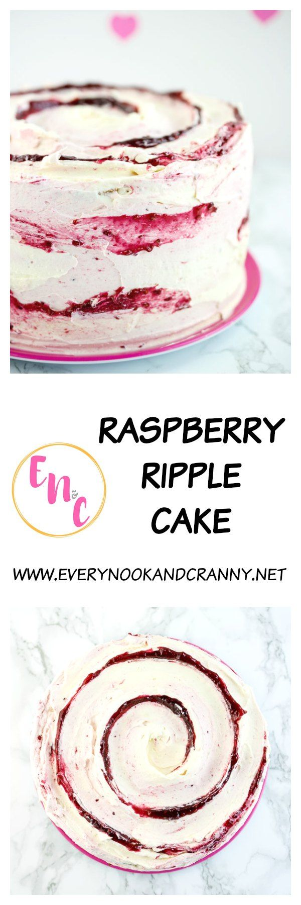 Raspberry Ripple Cake - a light and fluffy vanilla cake filled with raspberry jam and frosted with ripples of both white chocolate and raspberry Italian meringue buttercream