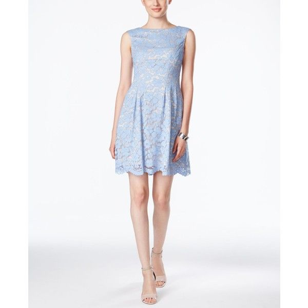 Vince Camuto Sleeveless Boat-Neck Lace Dress featuring polyvore, women's fashion, clothing, dresses, light blue, going out dresses, party dresses, lace shift dress, sleeveless dress and shift dress