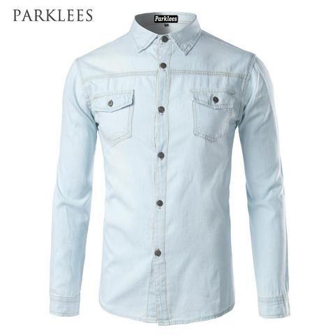 94cf57a722c White Denim Shirt Men Brand Design Long Sleeve Mens Shirts Casual Slim Fit  Cotton Chemise Homme Camisa Jeans Pocket Dress Shirt