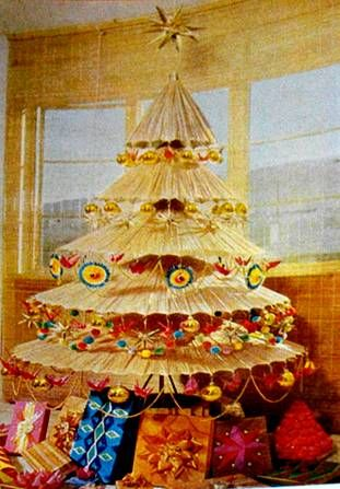 Paper JNapanee Umbrella Tree. Vintage Gadgetrees: Funky Art trees for yule, xmas, christmas, or winter solstice