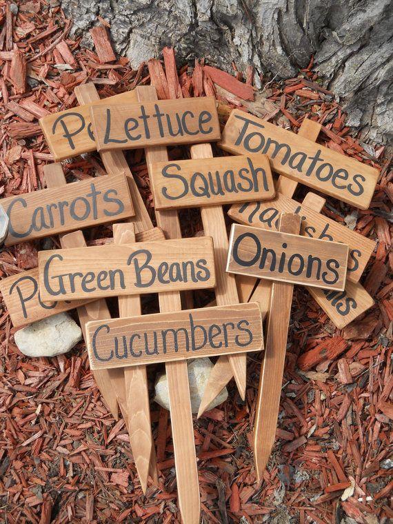 Wood Garden Marker, Garden Sign, Hand painted Cedar Wood Sign, Vegetable Garden…