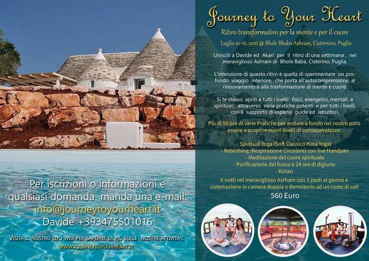 Yoga Meditazione Ritiro - Journey to Your Heart - Ritiro Puglia July 10 - 16