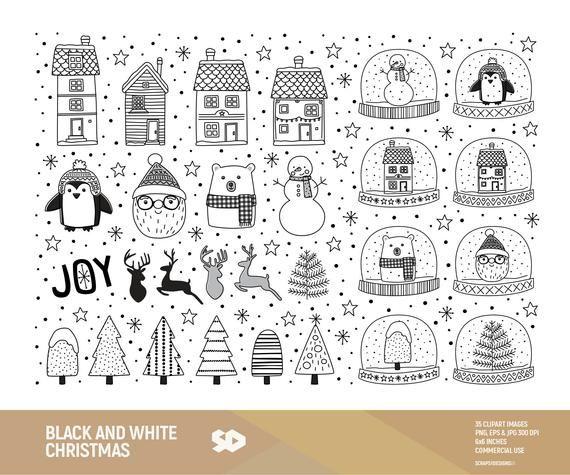 16+ Black and white christmas clipart vector information