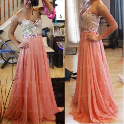 beaded peach prom dress, formal prom dress, beautiful prom dress, prom dresses 2016,PD160095