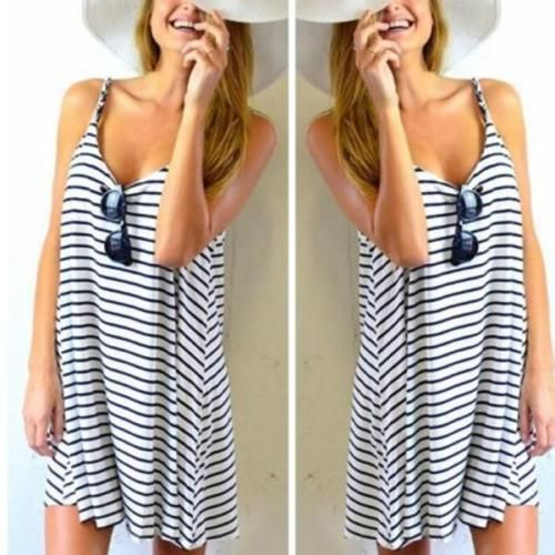 Fashion Women Sleeveless Striped Loose Mini Dress Beach Party Casual Sundresses