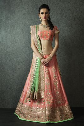Peach and Green Lehenga